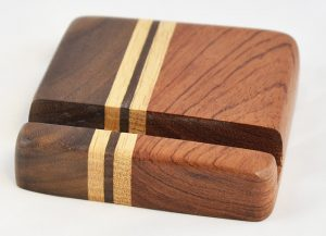 Bubinga and Walnut Phone Stand