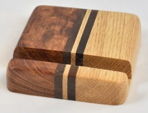 Bubinga and Oak Phone Stand