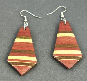 Purple Heart, Maple and Walnut Earrings