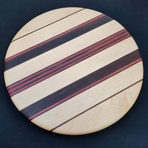 Handmade Hardwood Eastern Hard Maple, Walnut and Purple Heart Lazy Susan